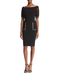 La Petite Robe Di Chiara Boni Galena Short Sleeve Grommet Jersey Cocktail Dress Black