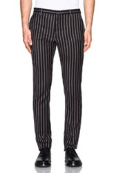 Lanvin Slim Fit Evening Trousers With Silk Piping In Black Stripes