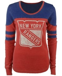 G3 Sports Women's New York Rangers Hat Trick Thermal Long Sleeve T Shirt Red Blue
