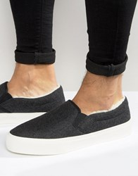 Asos Slip On Plimsolls In Grey Felt With Faux Shearling Lining Charcoal