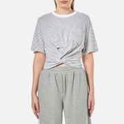 Alexander Wang T By Women's Stripe Cotton Jersey Front Twist Short Sleeve T Shirt Heather Grey White Multi