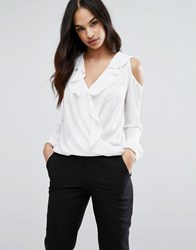 Lipsy Wrap Front Ruffle Blouse With Cold Shoulder White