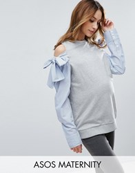 Asos Maternity Sweatshirt With Cold Shoulder And Shirt Sleeves Gray
