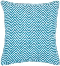 Chandra Textured Contemporary Cotton Pillow Blue White 18 Inch