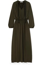 Elizabeth And James Luna Gathered Stretch Jersey Maxi Dress Army Green