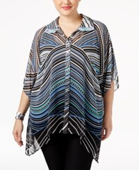 Jm Collection Plus Size Bell Sleeve Printed Top Only At Macy's Contempo Stripe
