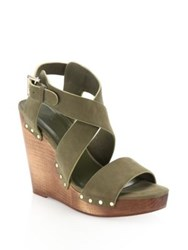 Joie Cecilia Suede Crisscross Wedge Sandals Olive Dove