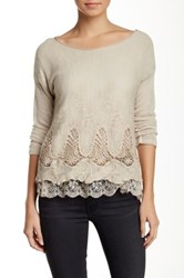 Luma Lace Crochet Trim Sweater Beige