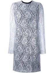 Msgm Lace Long Sleeve Mini Dress Women Polyamide Polyester Viscose 40 Grey