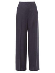 The Row Lianno High Rise Wide Leg Wool Trousers Navy