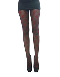 Zac Posen Floral Fashion Tights Red