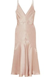 Gabriela Hearst Bridget Linen And Silk Blend Satin Midi Dress Blush