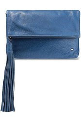 Halston Heritage Woman Christie Tasseled Textured Leather Clutch Blue