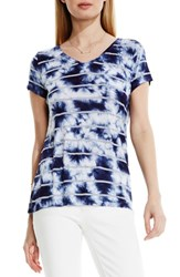 Women's Two By Vince Camuto Stripe Tie Dye V Neck Tee Evening Navy
