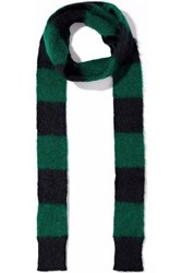 Red Valentino Striped Intarsia Mohair Blend Scarf Forest Green