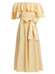 Gul Hurgel Off The Shoulder Striped Cotton Blend Dress Yellow