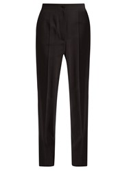Dolce And Gabbana Satin Striped High Rise Crepe Trousers Black