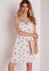 Missguided Cowl Front Strappy Cami Dress Ivory Vintage Floral Ivory