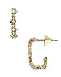 Alexis Bittar Crystal Encrusted Mini Hoop Earrings Gold