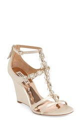 Women's Badgley Mischka 'Cashet' Embellished T Strap Wedge Ivory