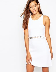 Asos Premium Dress In Structured Knit With Lace Up Detail White