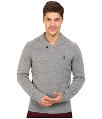 Original Penguin Long Sleeve Pullover Shawl W Back Neck Tipping Details Griffin Men's Sweater Gray