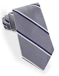 Lord And Taylor Double Clean Striped Tie Gray