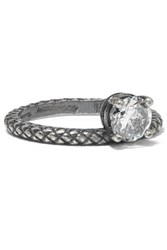 Bottega Veneta Oxidized Sterling Silver Cubic Zirconia Ring 11