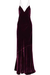 Cami Nyc Woman The Serena Open Back Velvet Gown Grape
