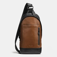 Coach Manhattan Sling Pack In Sport Calf Leather Qb Dark Saddle Black