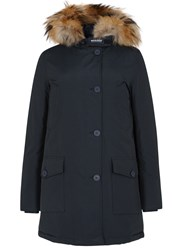 Woolrich Artic Fur Trimmed Cotton Blend Parka Navy