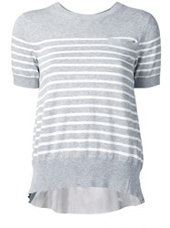Sacai Striped Cupro Insert Top Grey