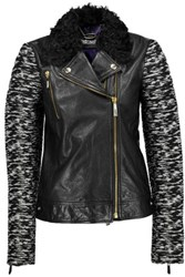 Just Cavalli Goat Hair Trimmed Leather And Tweed Biker Jacket Black