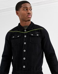 Liquor N Poker Boiler Suit With Neon Piping In Black