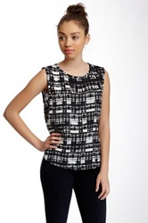 Lily White Caged Back Printed Tank Juniors Multi