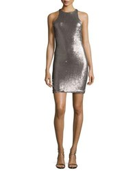 Halston Racerback Sequined Sheath Dress Silver