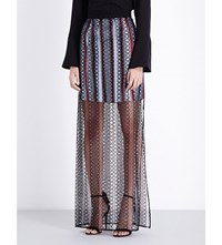 Burberry Braid Embroidered Cotton Maxi Skirt Black