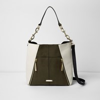 River Island Khaki Green And White Slouch Underarm Bag