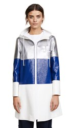 Courreges Three Bands Hooded Coat White Royal Blue Silver