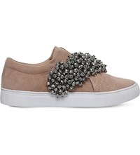 Kg By Kurt Geiger Ocean Velvet Slip On Trainers Nude