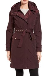 Vince Camuto Women's Hooded Trench Coat Wine