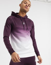 Sik Silk Siksilk Hoodie In Burgundy Ombre Fade Red