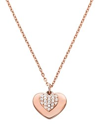 Michael Kors Pave Heart Duo Pendant Necklace 16 Rose Gold