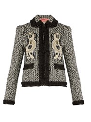 Gucci Spaniel Applique Ruffle Trimmed Tweed Jacket Grey Multi