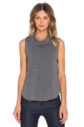 Bobi Cuddly Knit Cowl Neck Tank Top Gray