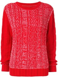 Coohem Gradation Cable Knit Jumper Red