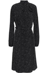 Mikael Aghal Woman Tie Neck Pintucked Printed Woven Dress Black