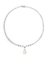 Cz By Kenneth Jay Lane Faceted Link Pendant Necklace Rhodium