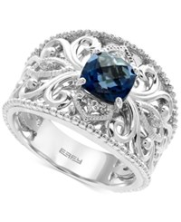 Effy London Blue Topaz 1 3 4 Ct. T.W. And White Sapphire Accent Statement Ring In Sterling Silver