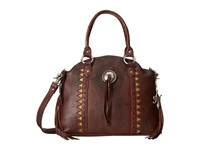 American West Tribal Trade Zip Top Convertible Half Moon Tote Washed Chocolate Brown Tote Handbags